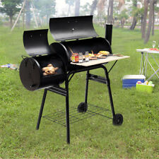 2 in1 Charcoal BBQ Grill Smoker Roaster Portable Patio Cooker Oven Rack Storage
