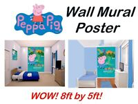 TV Peppa Pig George Bedroom Wall Mural BIG! Kids Children's Wall Paper Poster
