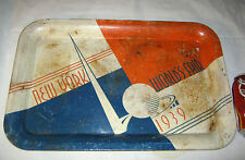 ANTIQUE 1939 NEW YORK USA WORLDS FAIR METAL BEER SODA INDUSTRIAL SIGN ART TRAY