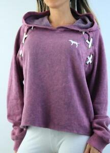 Victoria's Secret PINK Hoodie Lace Up Fleece Sweatshirt Logo Crop Tie Dye NWT