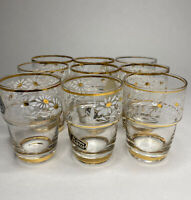 Vintage Small Cordial Shot Elixir Glasses Daisies Hand Blown & Painted Belgium