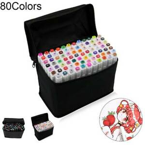 Markers 80 Colours Graphic Drawing Painting Alcohol Art Dual Tip Sketch Pens UK