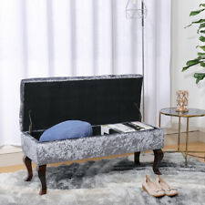 Crushed Velvet Window Seat Ottoman Storage Bed End Sofa Bench Toy Box Footstool