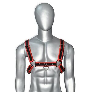 Men Red Edged Leather Chest Body Harness Strap Punk Belt for Clubwear