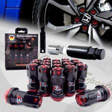 M12 x 1.50mm Black/Red Aluminum Close End Heavy Duty Wheel Lug Nuts+Socket Key