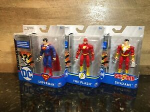 SPINMASTER DC HEROES UNITE SET OF 3 SUPERMAN FLASH SHAZAM!