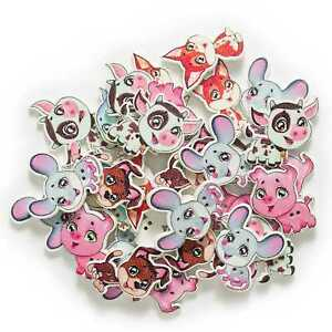 30pcs Animal series Wood Button for Sewing Clothing Scrapbook Crafts Gift Decor