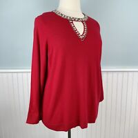 Size 3X *Fits Like 1X-2X INC Red Beaded Jeweled Wool Blend Sweater Top Shirt NWT