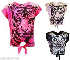 Mädchen Schön Süß Stylisch Party Baby Tiger Aufdruck T-Shirt Oberteil 7-13 Jahre