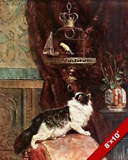 CAT STALKING A CANARY BIRD IN CAGE PET ANIMAL ART PAINTING REAL CANVAS PRINT