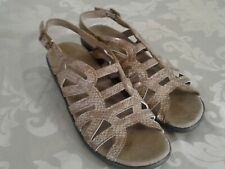 """Easy Street Light Brown 1"""" Wedge Heel Sandals Slingback Womens Shoes Size 7 M"""