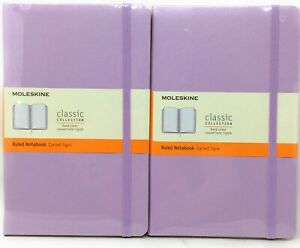 Moleskine Classic Collection Hard Cover Ruled Notebook Lilac 5 x 8 1/4 Set of 2