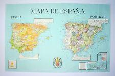 Mapa físico y político de España. Color S.XX Physical and political map of Spain