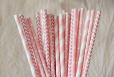 100 blush pink mixed paper straws polka dot stripes chevron drinking party straw