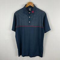 FJ Foot Joy Golf Polo Shirt Mens Large Blue Striped Short Sleeve Collared