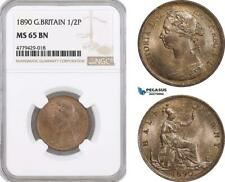 AF186, Great Britain, Victoria, 1/2 Penny 1890, Royal Mint, NGC MS65BN