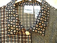 VTG 90S M BROWN OVERSIZED S ABSTRACT FLORAL MIXED PRINT GRUNGE SHIRT TOP WOMEN