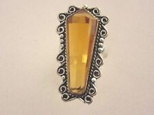925 Silver Vintage Style Ring With Golden Citrine UK O, US 7.25 (rg2764)