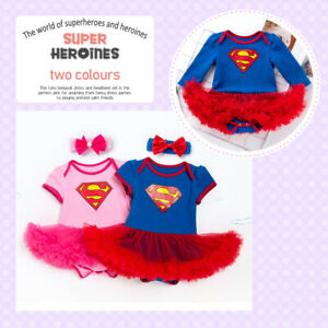 Baby Girl Superhero Costume Fancy Tutu dress with Headband Birthday School Play