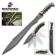 USMC Marines Sawback Machete Sword Assisted Open Pocket Knife Set Full Tang 3231