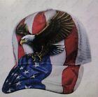 Patriotic USA American Flag Stern Eagle Sublimation Baseball Hat Ball Cap