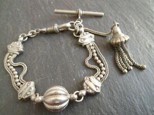 Antique Silver Plated Albertina Pocket Watch Chain T-Bar Bracelet + Tassel Fob