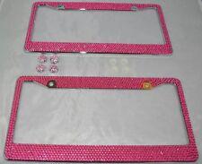2 Pink Bling Glitter Crystal RhineStone License Plate Frame Car Auto