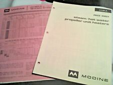 1965/68 Modine P&B Unit Heaters, Duct Furnace Price Sheets Vintage Brochure