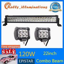 """22INCH 120W LED COMBO LIGHT TRUCK Boat DRIVING+2X Pods 4"""" 18W SPOT LIGHT 12V24V"""