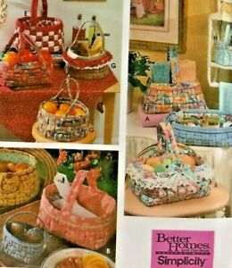 1995 VTG Simplicity Sewing Pattern 9420 Design Your Own Woven Fabric Basket 7637