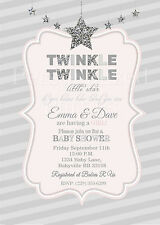 Twinkle Twinkle Little Star baby shower invitations in silver and pink
