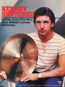 1984 Print Ad of Sabian Drum Cymbals w Kenney Jones of The Who