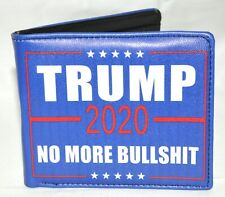 Trump 2020 No More Bull BS Bi-Fold Wallet Billfold Blue With Cardholders