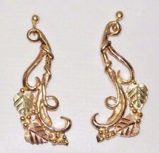Black Hills Gold 10 kt 12 kt Long Leaves and Vines Earrings Coleman