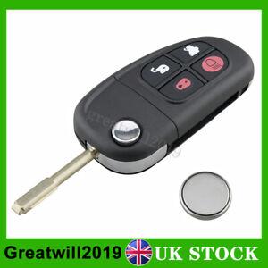 For Jaguar X Type S Type XJ XJR 4 Button Flip Remote Car Key FOB Case + Battery