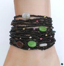 Bracelet Tessa Multirang Tibétain Rocailles Noir Perles Plates Multicolores Fil