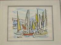 Vintage Original Serigraph Boats in Harbor by Raoul Dufy Listed