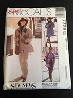McCalls Sewing Pattern 7779 Misses Unlined Jacket Pants Size 18-22
