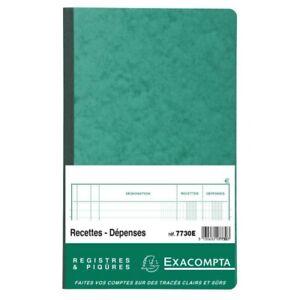 Piqûre - 32x19,5 cm - Recettes-dépenses - 80 pages - Exacompta