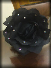 Big Black Rose Claw Clip Bling, Crystal Bride/Bridal Hair Accessory, Jaw Clip
