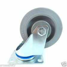 "4"" TPR Swivel Wheel Plate Caster with Non Marking Soft Gray Rubber (CTPR4SS)"
