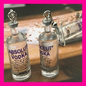 Absolute Vodka Bottle shaped Earrings Silver Plated USA HANDMADE