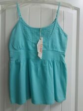 Tulle Anthropologie Blue Pin Tuck Spaghetti Strap Babydoll Top - Size S
