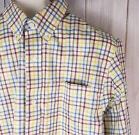 Duluth Trading Co Mens LS Button Down Shirt M Trim Fit Plaid 100%Cotton Red Blue
