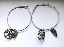 Boucles d'oreilles créoles avec arbre de vie et hibou argenté