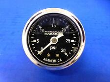 "Marshall Gauge 0-30 psi Fuel Pressure Oil Pressure  Black 1.5"" Diameter Liquid"