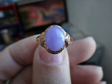18k Solid Gold Diamond Natural A Jadeite Jade Icy Lavender Purple Pink Oval Ring