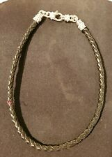 Sterling Silver Judith Ripka Woven Leather Black Magnetic Clasps Necklace 18""
