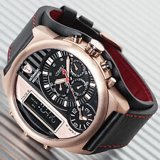 DETOMASO Palermo Mens XXL Chrono Rose Gold Plated Watch 3 Time Zones Alarm New