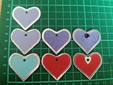 Metal edged, heart tags, toppers, embellishments for papercraft x7